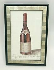 Kolene Spicher Signed Framed Print w/ Glass Burgundy Wine Bottle 1995 Cellar