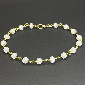 Rainbow Moonstone 14k Gold filled Link Bracelet Handmade Gift Jewelry For Women