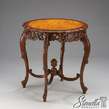 33559: Finely Carved Mahogany Satinwood Inlaid Top Center Occasional Table ~ New