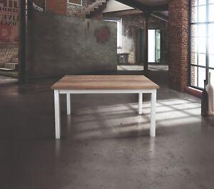 TAVOLO IN LEGNO BIANCO, PIANO ROVERE NATURALE 110X70 ALLUNGABILE