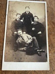CDV  GROUP OF YOUNG MEN  by Barber Distillery Corner NORWICH 1860s CDV PHOTO 6/9