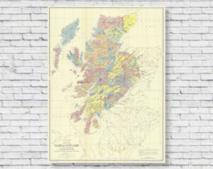 1899 Clans of Scotland Map Poster Print, Historical Old Scottish Heritage