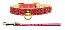 """Swank Collar with Red Stones and Matching Leash, 16"""" - 18"""" Neck Size"""