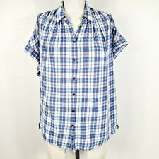 Madewell Shirt Size M Blue Plaid Button-Front Oversized Short Sleeve Blouse