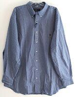 Polo Ralph Lauren Big and Tall Mens Blue Black Plaid Button-Front Shirt NWT 2XLT