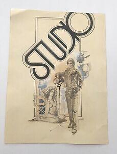 """ENRIC ENRICH TORRES PRAT Large Original Drawing """"STUDIO"""" Circa 1975 VERY NICE!"""