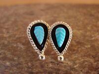 Native American Jewelry Zuni Sterling Silver Turquoise Post Earrings- Walela