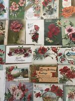 Colorful Lot of 21 POPPIES VINTAGE POPPY FLOWERS floral GREETINGS POSTCARDS-b-19