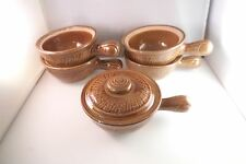 Vintage Made in USA Set of 5 French Onion Soup Bowls Crocks Brown 1 Lid