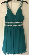 City Studio  Fit & Flare Teal Dress Size 5 Prom Homecoming Party Rhinestones NWT