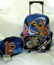 """SCOOBY DOO RACING 16"""" ROLLING BACKPACK & SCOOBY DOO LUNCH BOX BAG-BRAND NEW~"""