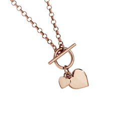 """Genuine 18"""" Rose Gold over 925 Sterling Silver Double Heart Charm T-Bar Necklace"""