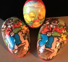 Easter German Paper Maiche Nesting Egg Candy Containers -(2) 1960s Vintage