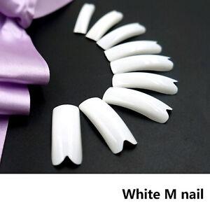 500PCS White False Acrylic LED Gel Half French Shape M Nail Art Tips Extension