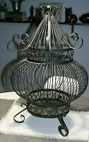 Antique Bird Cage Unique Rare Iron Ornate Black Round Victorian Dome Vintage