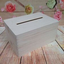Lockable Natural Wooden Drop Box Wedding Guests Wish Post Box with Slot Funeral
