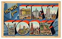 1943 Howdy from New York LARGE LETTER Postcard
