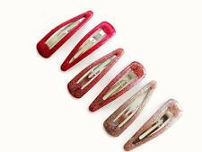 Scheda di 6 ROSA GLITTER Bendies Capelli Clip Grip sleepie 5 cm
