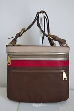 FOSSIL Explorer Patchwork Crossbody Red Brown Multi Leather Satchel Bag
