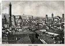 Bologna: Panorama.Grande Veduta.Emilia-Romagna.Stampa Antica + Passepartout.1891