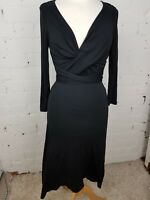COAST - CLASSIC BLACK DRESS WITH CROSS RUCHED FRONT  - UK 8 VGC