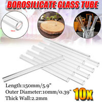 10Pcs 150mm OD 10mm 2.2mm Thick Wall Borosilicate Glass Pyrex Blowing Tube Lab