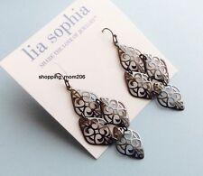 "Lia Sophia ""Damask"" Hematite Tone w/Filigree Design Earrings - Very Light Weight"