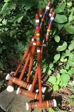Vintage Set of 6 Wooden Wood CROQUET Mallets  -lot of six~Forster