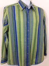 Robert Graham Lorient Size Medium Green Blue Striped Shirt Mulin Silk Trim