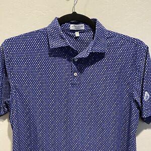 Peter Millar Summer Comfort Short Sleeve Polo Shirt Blue Size Medium Golf