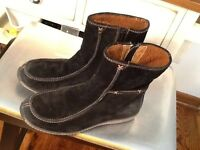 Timberland Fur Black Suede Mid Calf zip up warm winter Boots Women's size 6.5M