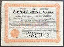 CLEAR CREEK GOLD DREDGING COMPANY Stock 1904. Jefferson County, Colorado. VF+