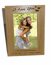 I Love You With Heart Design Wooden Photo Frame 4x6 - Engraving