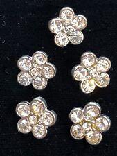 Vtg. Rhinestone Buttons Set Of 5 Small Rhinestone Flower Buttons