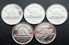 5 X Canadian Nickel 5 cents Coin Canada  2013, 2014, 2015, 2016 & 2017 UNC.