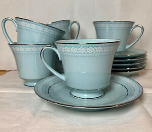 Noritake Wedding Veil Blue Footed Tea Cup and Saucer Set (6 sets available)