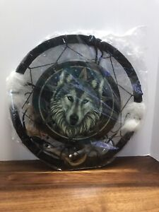 """13"""" Wolf Dream Catcher With Beads,Fur & Feathers Wall Decoration"""