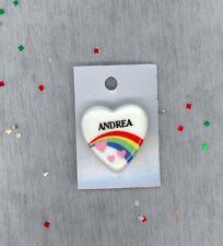 Rainbow & Hearts Fashion Pin Brooch Personalized ANDREA - Stocking Stuffer