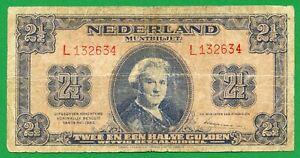 Netherlands, 2 1/2 Gulden, 1945, P-71