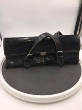 Kenneth Cole Reaction Womens Satchel Bag Black Adjustable Buckle Strap Snaps L