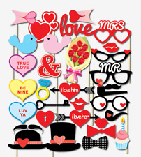 32PCS Valentines Day Supplies Decoration Photo Booth Party Props Heart US SHIP