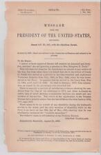 Message from the President of the United States 1888 Pension Objection M Curtin