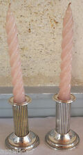 paire petit bougeoir métal argenté candlestick