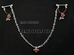 Roses are red  Body pierced bars with love and kisses chain Hand designed USA