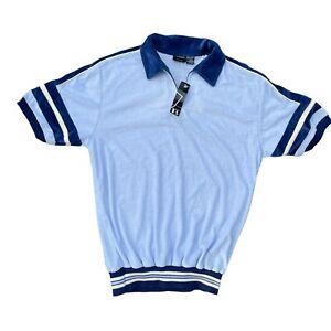 NOS Peter B Spun Polyester Polo Sweatshirt Blue Cream Velour Colar/Trim Men's L