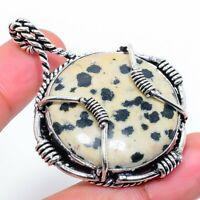"Dalmation Jasper Gemstone Handmade Ethnic Gift Jewelry Pendant 1.97"" VK-5518"