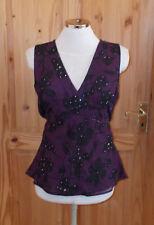 purple black floral chiffon beaded sequin v neck camisole vest tunic top 14 42