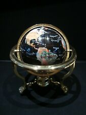 "13"" Black Ocean Tabletop Gemstone World Globe Gold Clawfoot Tripod w Compass"