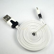 Long 2m USB Cable for iPhone 6S 6 5S 5C 7 White Flat Data Charger Lead Cord