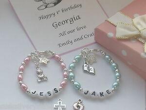 Baby Boy Girl 1st Birthday  christening  present bracelet personalised box